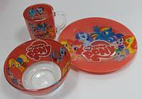 Набор Детской Посуды Пони, My Little Pony 3 предмета, фото 1