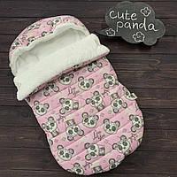 """Зимний Конверт-кокон для выписки из роддома """"Cute Panda"""" (подходит в коляску-люльку) верх плащевка, фото 1"""