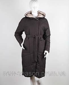 Пальто демисезонное двухстороннее Button J106-501 коричневый-бежевый