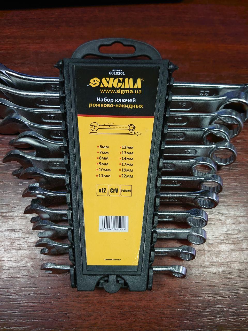Набор ключей рожково-накидных Sigma 12 шт 6-22 мм CrV