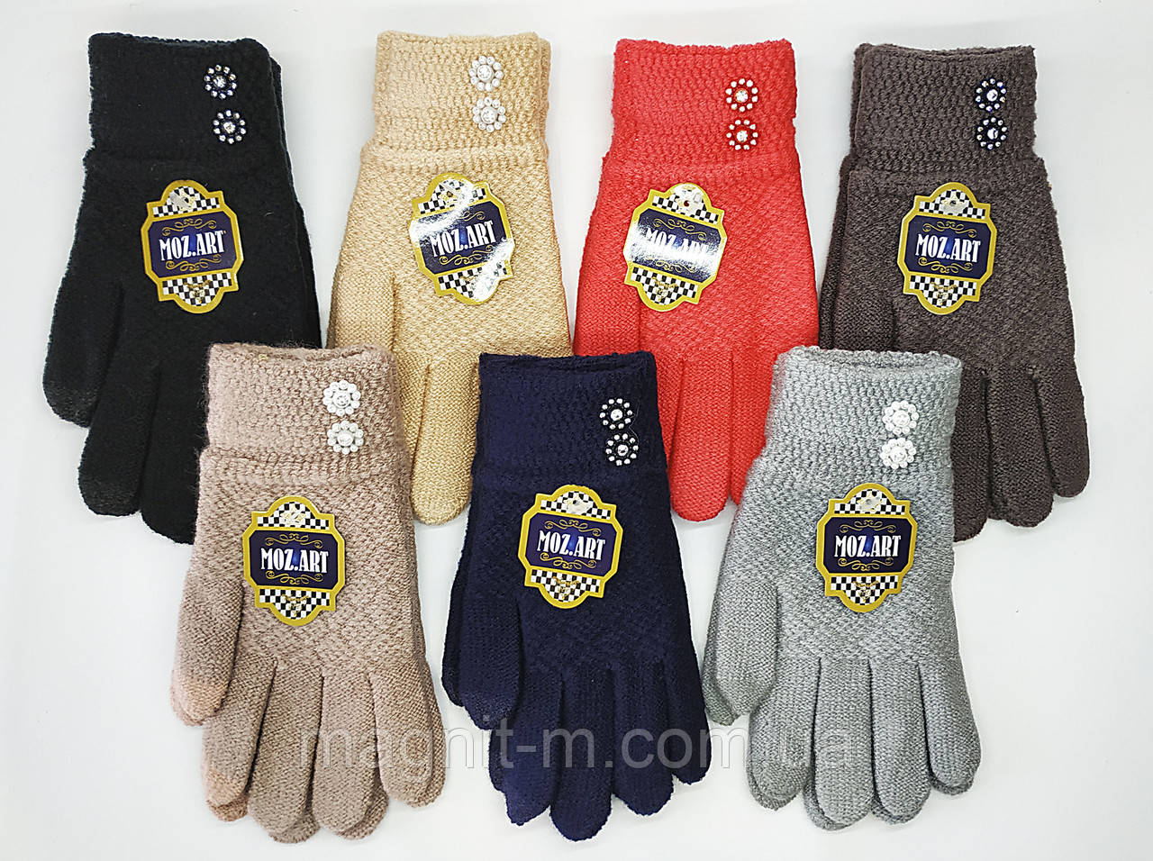 """Женские  сенсорные перчатки """"MOZART"""". Стразы на манжете."""