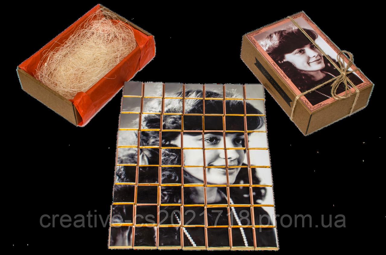 """Шоколадный набор для мамы с фото """"Пазл"""" крафт (на 63 шоколадки) - изготовление 3-5 раб.дней"""
