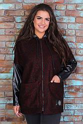 Теплая куртка женская удлиненная демисезонная трикотажная с капюшоном (букле), бордовая
