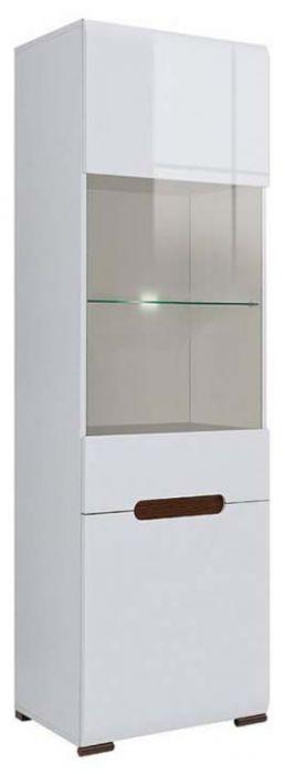 Пенал-витрина Ацтека REG_1W/1D/21/6 белый/белый глянец