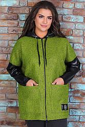Теплая куртка женская удлиненная демисезонная трикотажная с капюшоном (букле), зеленая