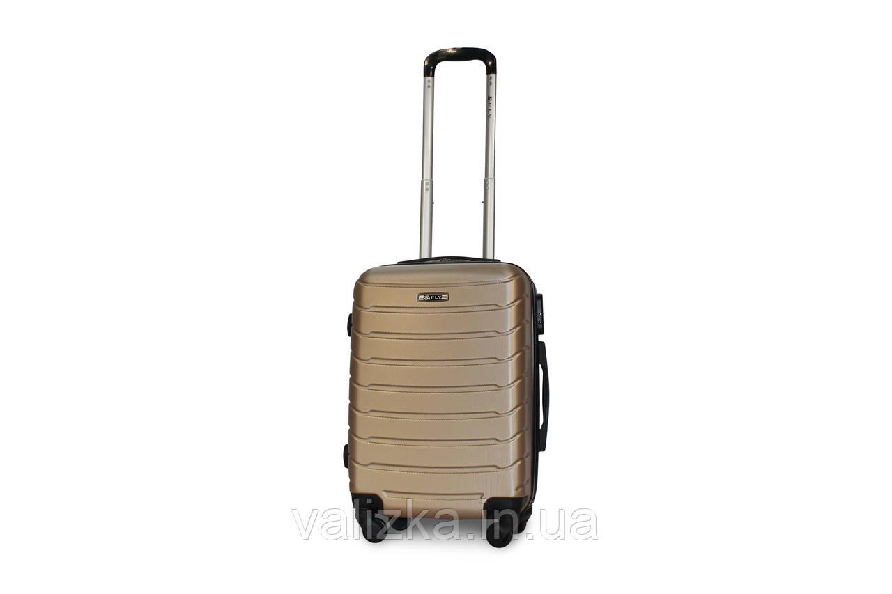Пластиковый чемодан Fly S для ручной клади золотистый