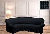 Покрывало Чехол на угловой диван  Антрацит