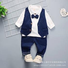 Нарядный костюм тройка на мальчика  джентельмен синий с жилеткой  2-4 года