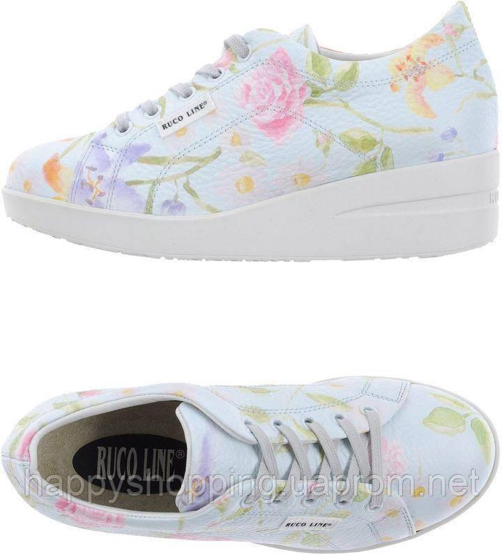 Женские светлые  кожаные кроссовки с цветочным принтом Ruco Line