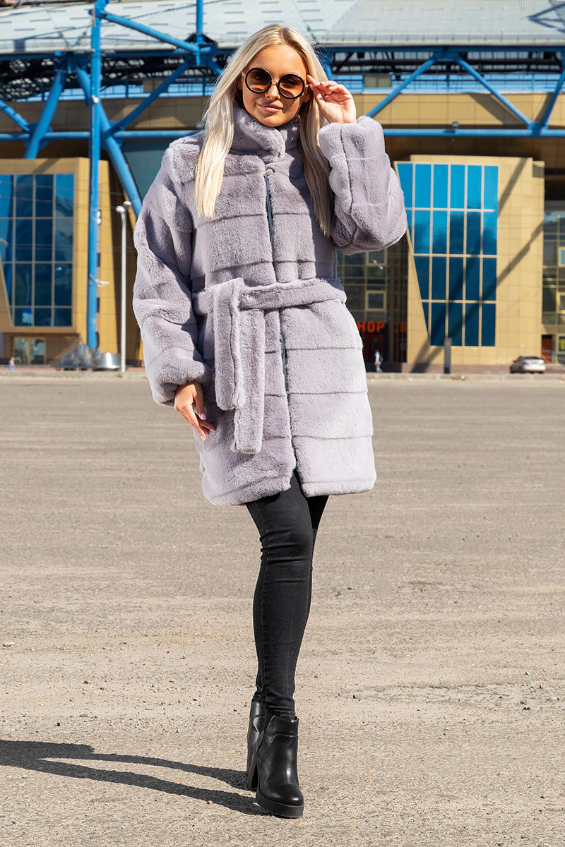 Шуба Шиншилла №37-Д с утеплителем светло-серая