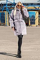 Шуба Шиншилла №37-Д с утеплителем светло-серая, фото 1