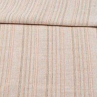 Ткань суровая (парусина) бежевая в оранжевую и серую полоску ш.150 (22414.001)