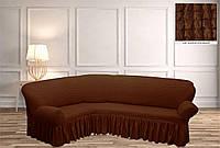 Покрывало Чехол на угловой диван  Коричневый, фото 1