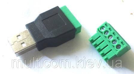 01-08-010. Штекер USB тип A c клеммной колодкой, (под винт)