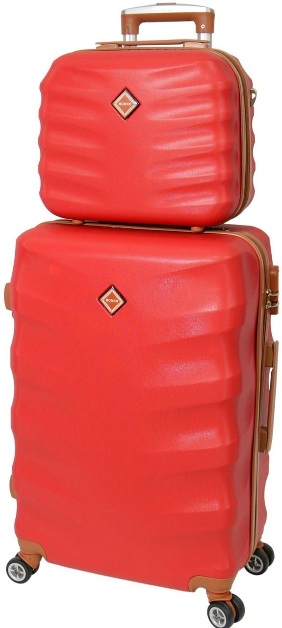 Комплект чемодан и кейс Bonro Next большой. Цвет бордовый.