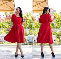 Платье батал NOBILITAS 50 - 56 красное (арт. 19041)
