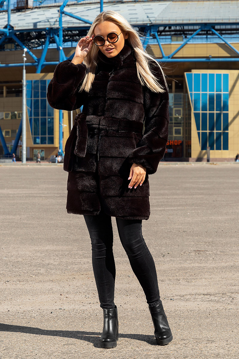 Шуба Шиншилла №37-Д с утеплителем черный