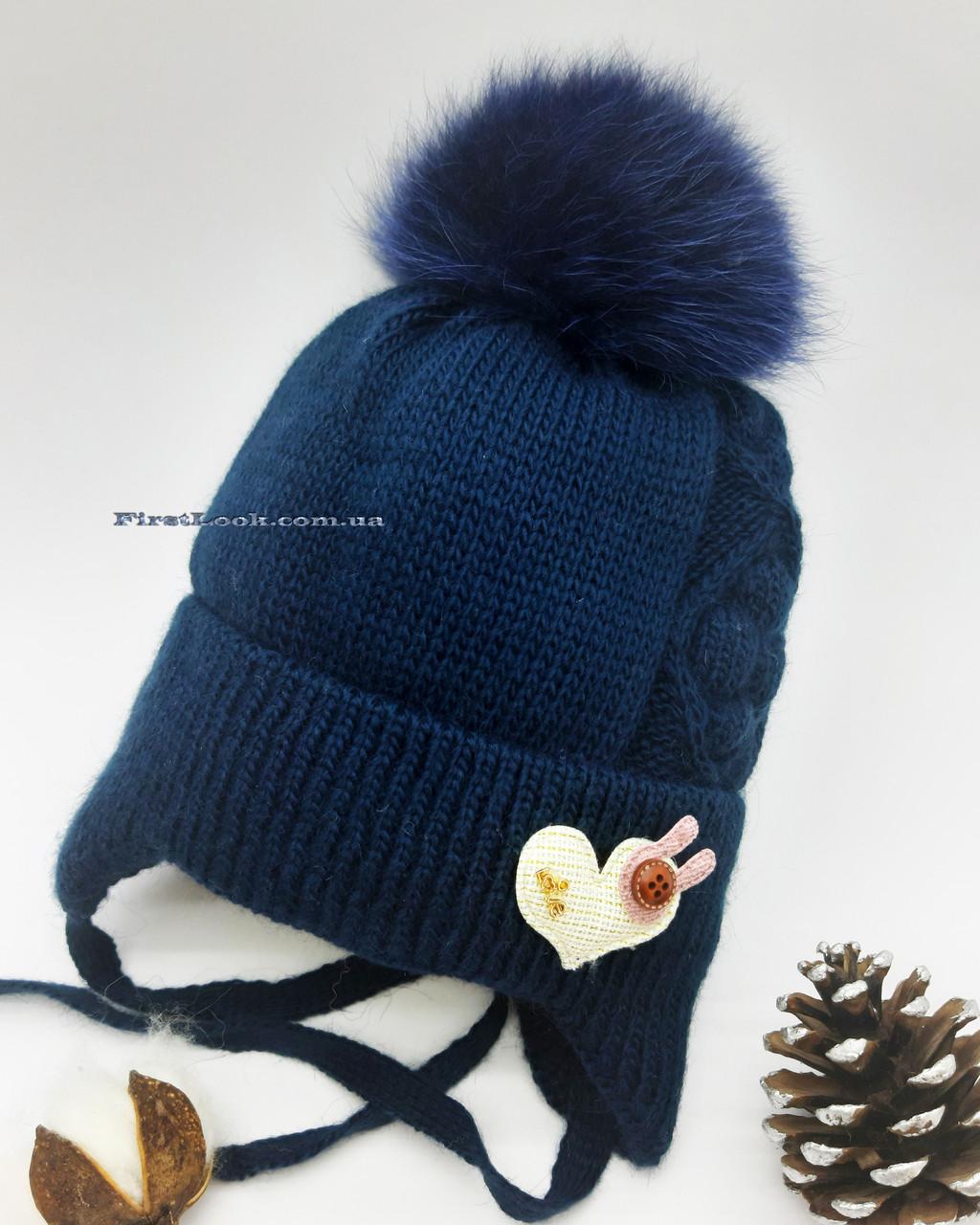 Детская зимняя вязаная шапка на девочку (3-6 лет)
