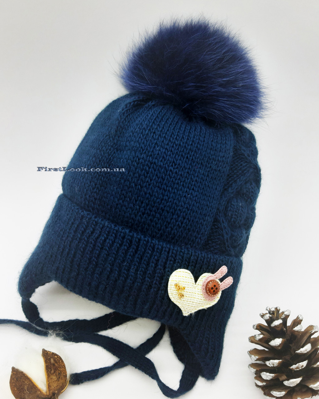 Детская зимняя вязаная шапка на девочку (3-6 лет), фото 1