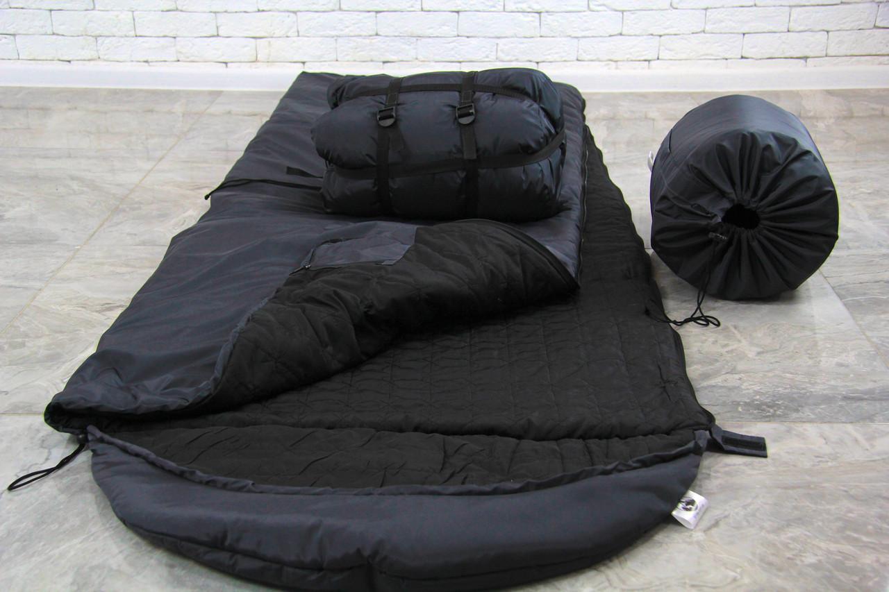 Спальный мешок зимний (-15/+15), черный спальник тактический армейский для похода весна и осень
