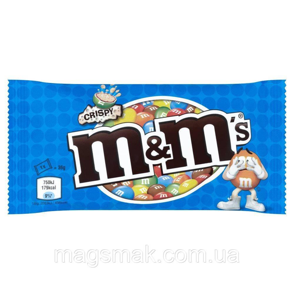 Драже M&M's с рисовыми шариками в молочном шоколаде 77г