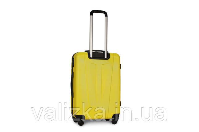 Чемодан пластиковый средний Fly на 4-х колесах желтый, фото 2