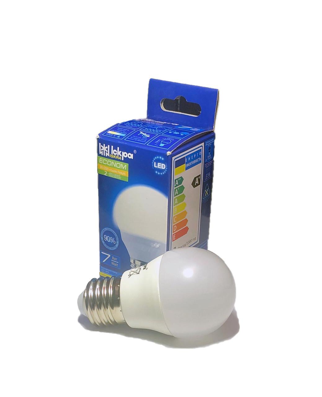 Лампа светодиодная LED шарик, 7Вт Естественный белый, (E27), G45, 220B