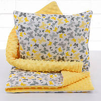 Плед и подушка с бабочками серо-жёлтого цвета