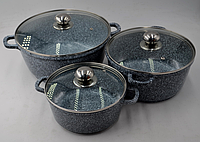 Набор литых кастрюль с крышками (6 предметов) Benson BN-312 с мраморным покрытием, фото 1