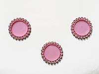 Крышка для кабошона со стразами (розовая) 3,6 см (внутр 2,5 см)
