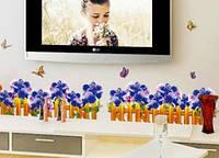 Интерьерная наклейка - Забор с цветами   (136х35см), фото 1
