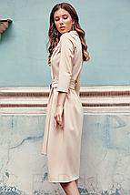 Стильное платье до колен с поясом рукав 3/4 цвет бежевый, фото 3