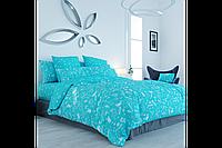 Постельное белье, семейный комплект, хлопковое постельное белье, бязевое постельное белье, UNIKORN BLUE