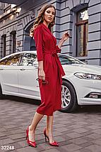 Осеннее платье до колен с v-образным вырезом пояс цвет красный, фото 2