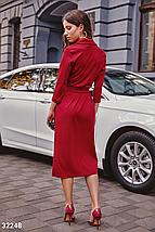 Осеннее платье до колен с v-образным вырезом пояс цвет красный, фото 3