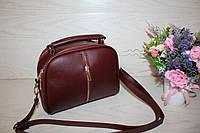Бордовая женская сумочка на одно отделение с длинным ремешком