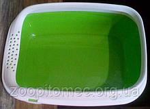 Туалет лоток с рамкой для кошек BETA PLUS mini green, зеленый 43*31*16 см