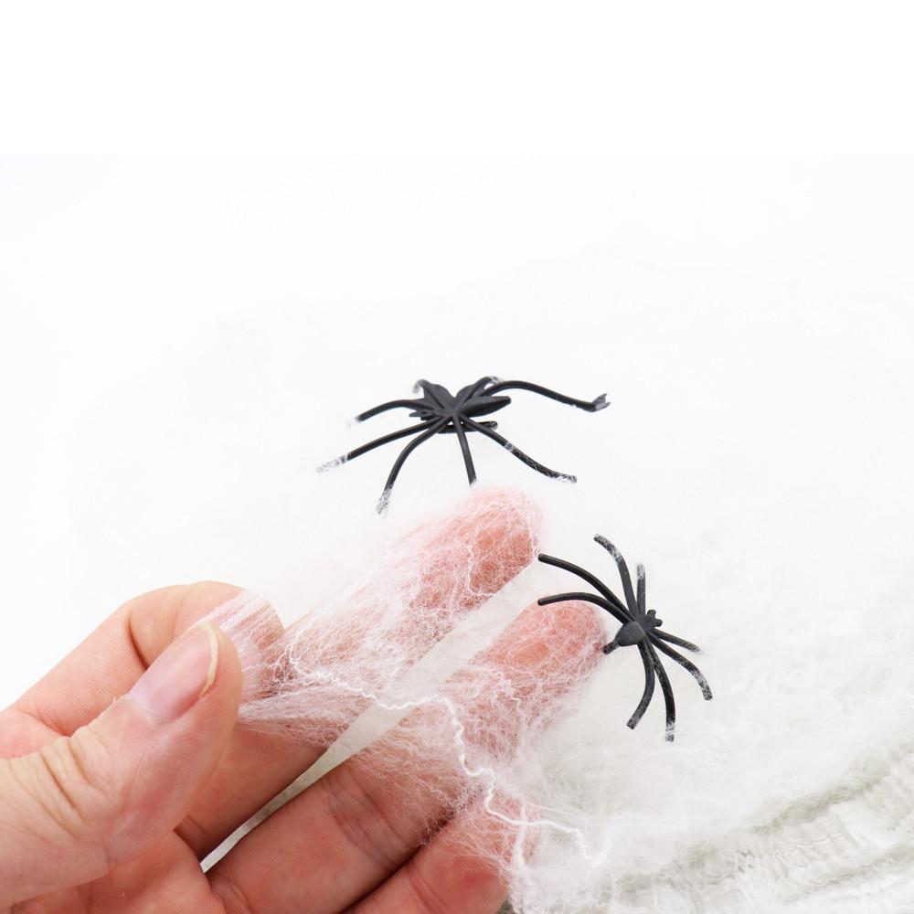 Павутиння декоративне на Хеллоувін, біле, велика, Паутина с паучками на хэллоуин