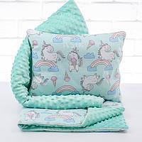Плед и подушка с единорогами и радугой мятного цвета