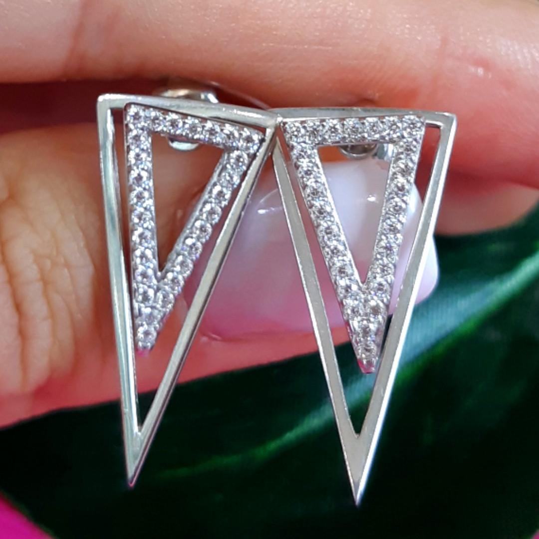 Серебряные серьги Треугольники  - Серьги трансформеры серебро - Джекеты серьги