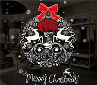 Новогодняя наклейка  Merry Christmas  (80х65см), фото 1