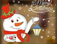 Новогодняя наклейка Снеговик  (75х60см), фото 1