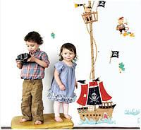 Интерьерная наклейка ростомер пиратский корабль  (158х88см), фото 1