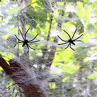 Павутиння декоративне на Хеллоувін, біле, велика, Паутина с паучками на хэллоуин, фото 5