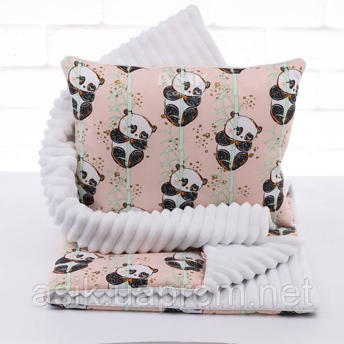 Плед і подушка з пандами і бамбуками пудрово-білого кольору