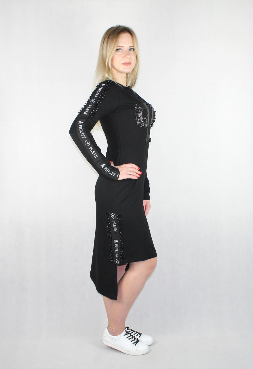Женское демисезонное платье Philipp Plein черным цветом