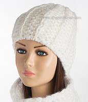 Женская шапочка на флисе Керол белая