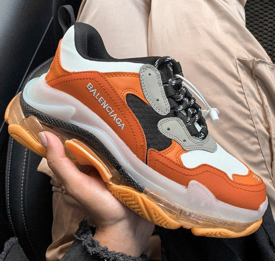 "Женские кроссовки Balenciaga Triple S Outlet Clear Sole ""Orange/Yellow"" 36-40рр. Живое фото (Реплика ААА+)"