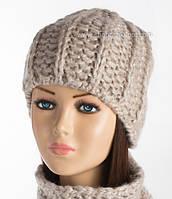 Вязаная шапочка на флисе Керол светлый лен