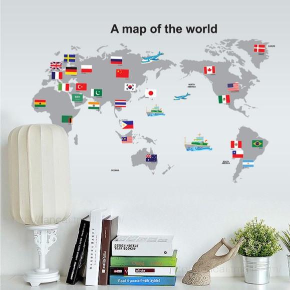 Інтер'єрна наклейка Карта світу (100х60см)